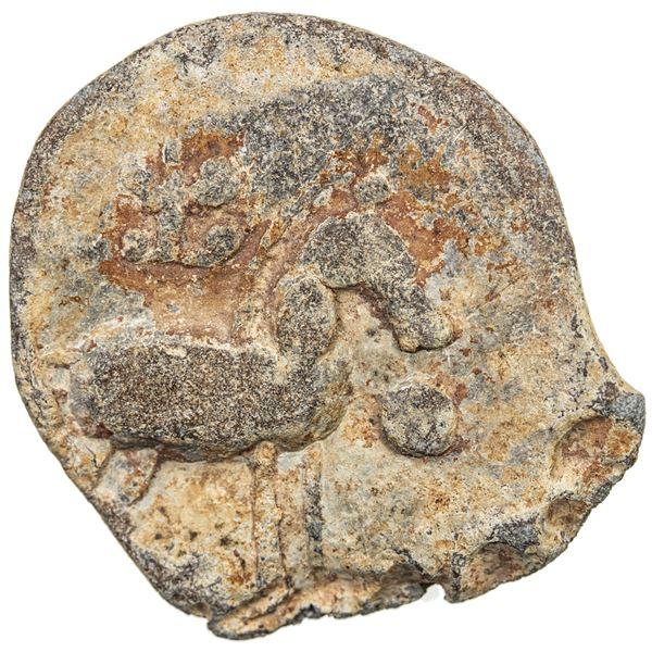 HIRANJAKA: Anonymous, ca. 300 AD, lead unit (8.53g). VF