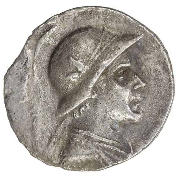 INDO-GREEK: Eukratides I, ca. 170-145 BC, AR tetradrachm (15.98g). VF