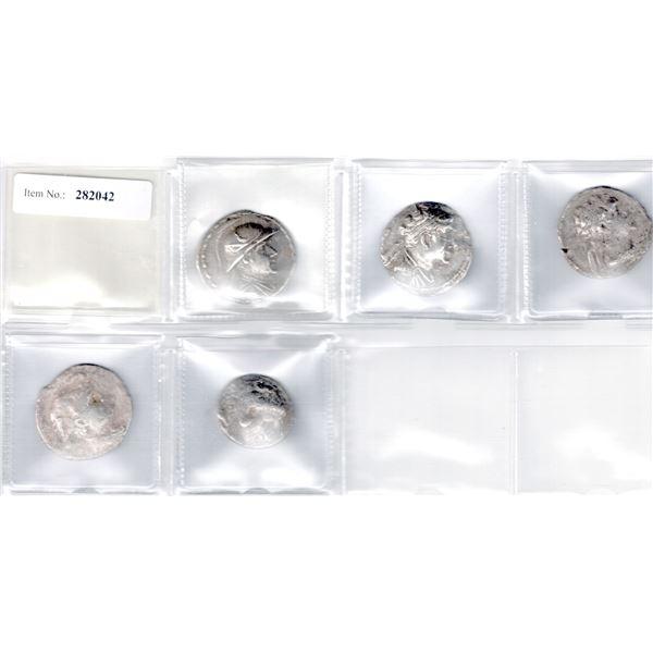 INDO-GREEK: LOT of 5 silver tetradrachms