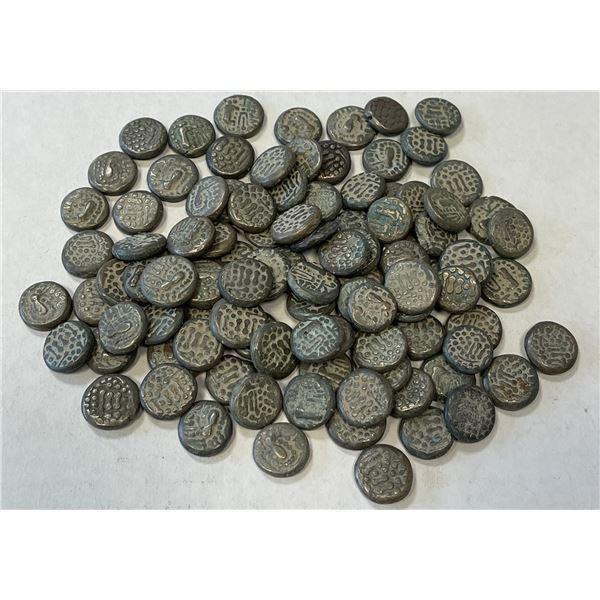 INDO-SASANIAN: LOT of 100  Gadhaiya Paisa  billon drachms