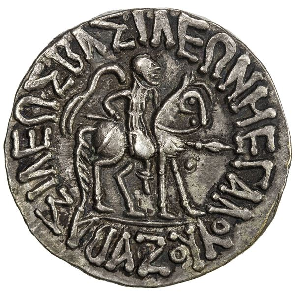 INDO-SCYTHIAN: Azes I, ca. 57-35 BC, AR tetradrachm (9.55g). EF