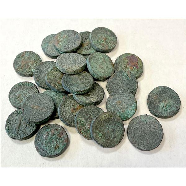 INDO-SCYTHIAN: LOT of 25 uncleaned AE tetradrachms of Aspavarma