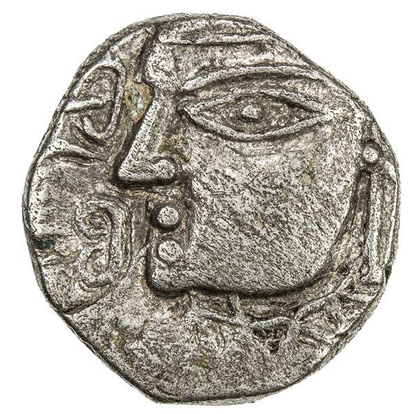 MAUKHARI OF KANAUJ: Avanti Varman, ca. 560-580, AR drachm (2.25g). VF
