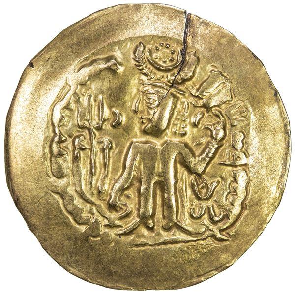 KIDARITE: Anonymous, 5th century, scyphate AV dinar (7.05g). VF-EF