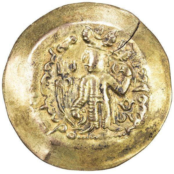 KIDARITE: Anonymous, 5th century, scyphate AV dinar (7.08g). VF