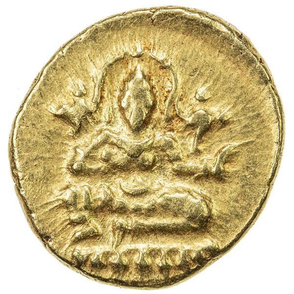 VIJAYANAGAR: Krishnadevaraya, 1509-1529, AV 1/2 pagoda (1.70g). VF-EF