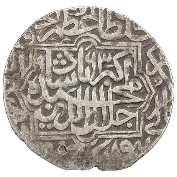 MUGHAL: Akbar I, 1556-1605, AR shahrukhi (4.64g), Lahore, AH963. VF