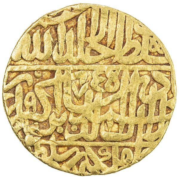 MUGHAL: Akbar I, 1556-1605, AV mohur (10.86g), Agra, AH975. F-VF