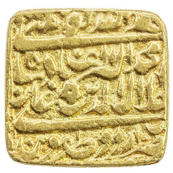 "MUGHAL: Akbar I, 1556-1605, AV square mohur (10.71g), ""Urdu Zafar Qarin"", AH""1000"". F-VF"