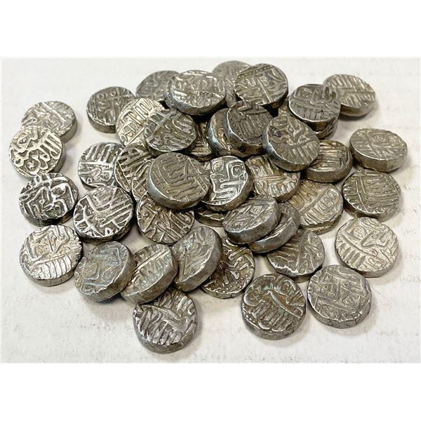 "MUGHAL: Akbar I, 1556-1605, LOT of 50 silver ""baglana"" mahmudis"