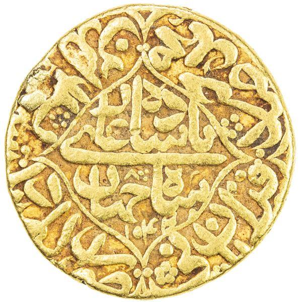 MUGHAL: Shah Jahan I, 1628-1658, AV mohur (10.90g), Akbarabad (Agra), AH1044 year 8. F-VF