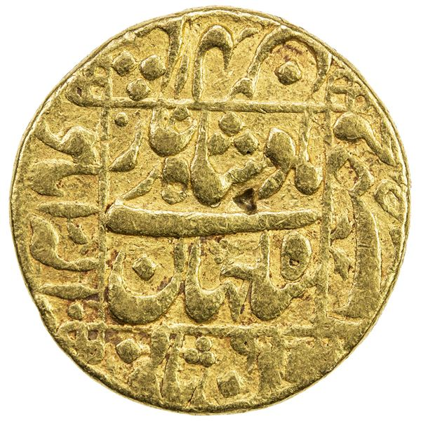 MUGHAL: Shah Jahan I, 1628-1658, AV mohur (10.90g), Allahabad, AH1045 year 9. F-VF