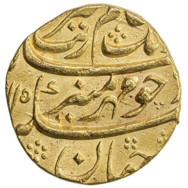 MUGHAL: Aurangzeb, 1658-1707, AV mohur (10.99g), Bijapur, AH1115 year 47, scarce variety, EF