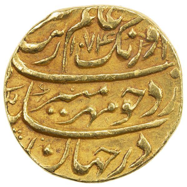 MUGHAL: Aurangzeb, 1658-1707, AV mohur (10.91g), Multan, AH1074 year 6. EF