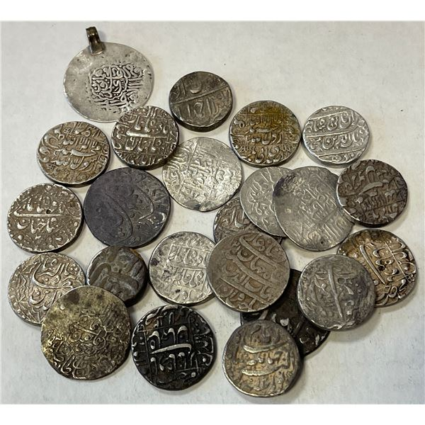 MUGHAL: LOT of 5 AR shahrukhis and 18 rupees