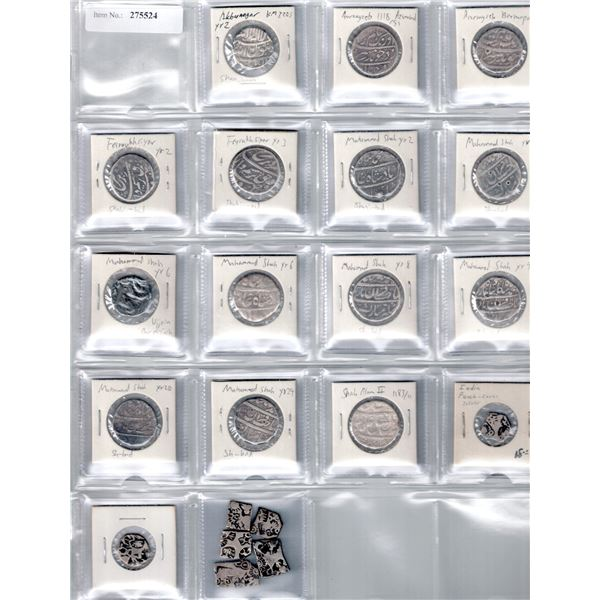 MUGHAL: LOT of 21 silver coins