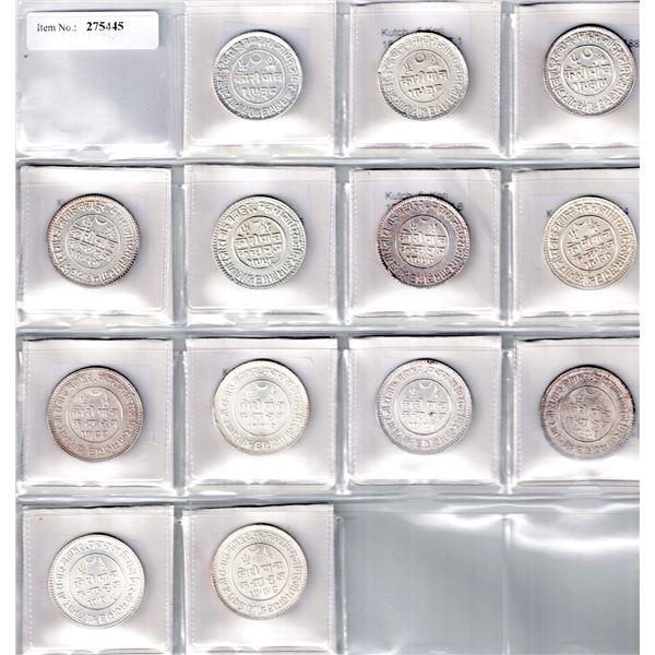KUTCH: LOT of 13 silver 5 kori coins