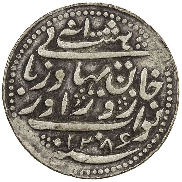 RADHANPUR: Zorawar Khan, 1825-1874, AR 8 annas (5.73g), Radhanpur, 1869/AH1289. VF