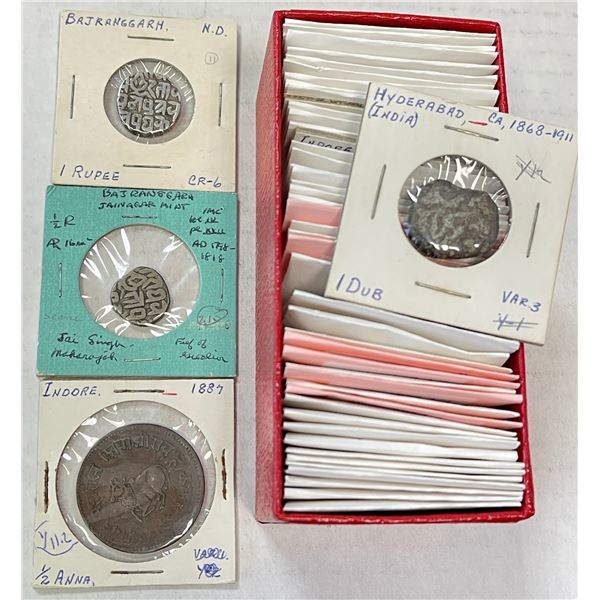 INDIAN STATES: LOT of 52 coins (25 silver)