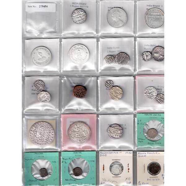 INDIAN STATES: LOT of 24 coins (20 silver)