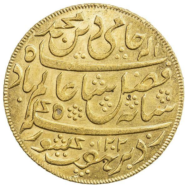 """BENGAL PRESIDENCY: AV mohur (12.35g), """"Murshidabad"""", AH1202 year 19 (frozen). AU"""