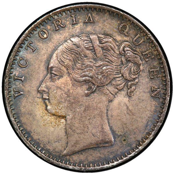 BRITISH INDIA: Victoria, Queen, 1837-1876, AR 1/2 rupee, 1840(c). PCGS MS62