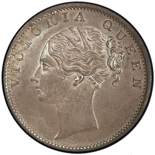 BRITISH INDIA: Victoria, Queen, 1837-1876, AR rupee, 1840(b). PCGS MS63