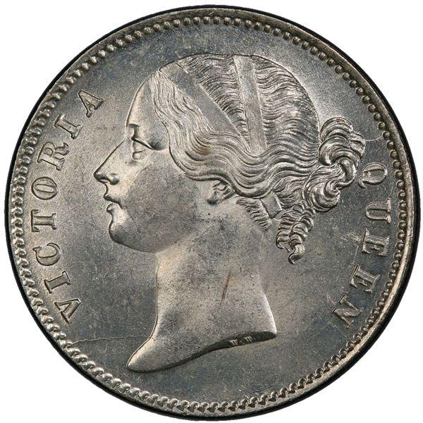 BRITISH INDIA: Victoria, Queen, 1837-1876, AR rupee, 1840(c). PCGS MS63