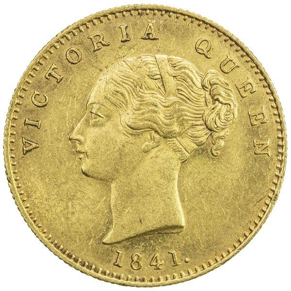 BRITISH INDIA: Victoria, Queen, 1837-1876, AV mohur, 1841(c). AU