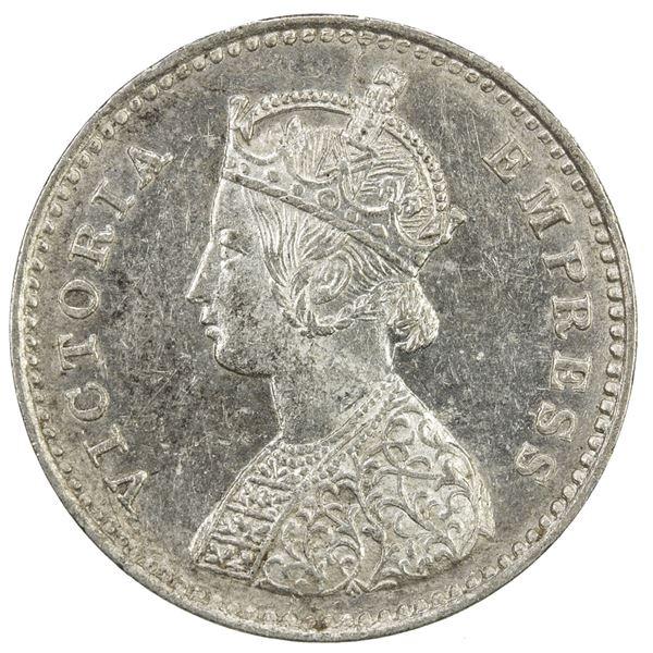 BRITISH INDIA: Victoria, Empress, 1876-1901, AR 2 annas, 1884(c). AU