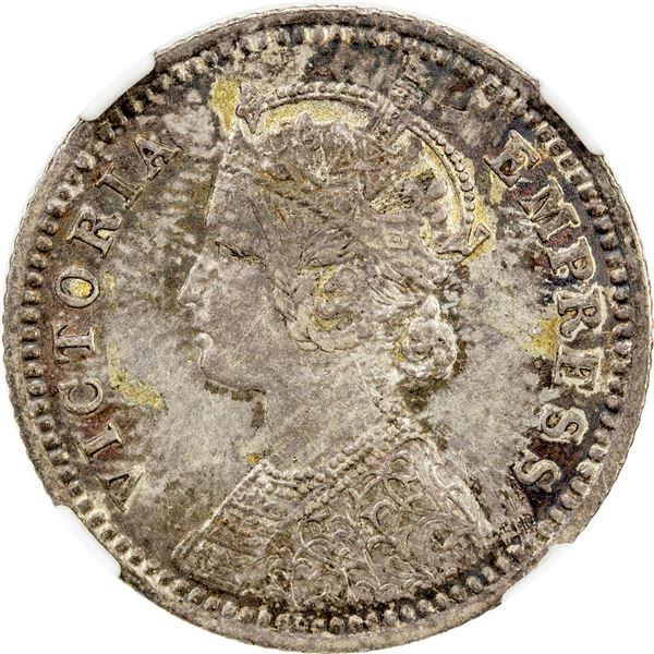 BRITISH INDIA: Victoria, Empress, 1876-1901, AR 1/4 rupee, 1880-C. NGC AU58
