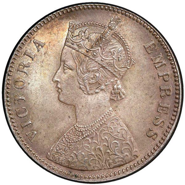 BRITISH INDIA: Victoria, Empress, 1876-1901, AR rupee, 1885-C. PCGS MS65