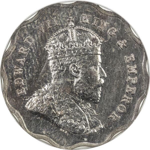 BRITISH INDIA: Edward VII, 1901-1910, 1 anna, 1908-B, later restrike, lacquered, NGC PF63