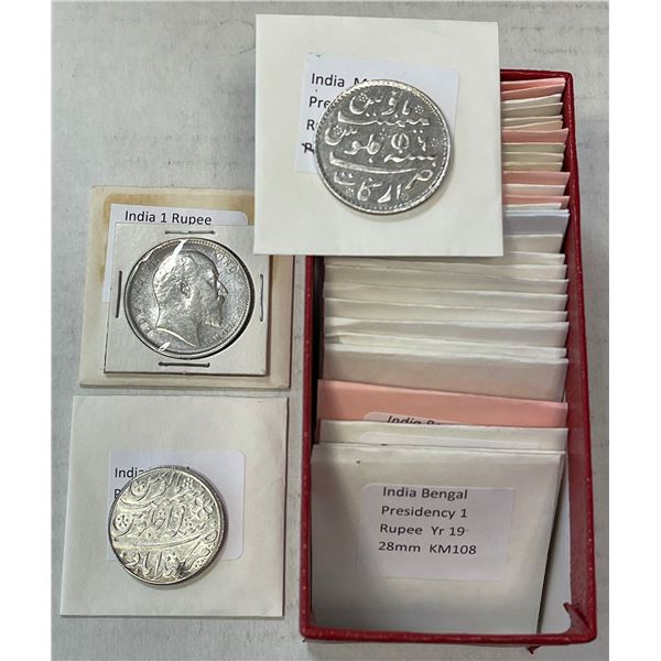 BRITISH INDIA: LOT of 40 coins (28 silver)
