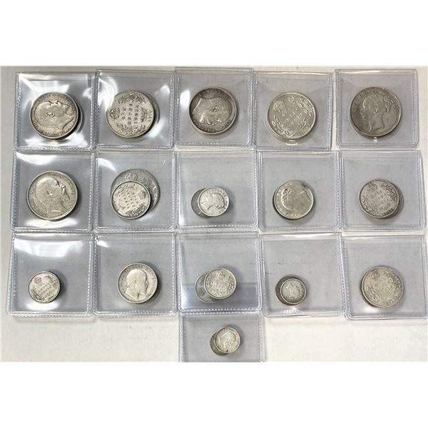 BRITISH INDIA: LOT of 32 silver coins