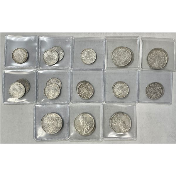 BRITISH INDIA: LOT of 25 silver coins of George V