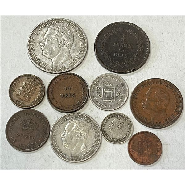 PORTUGUESE INDIA: LOT of 4 silver and 6 copper coins