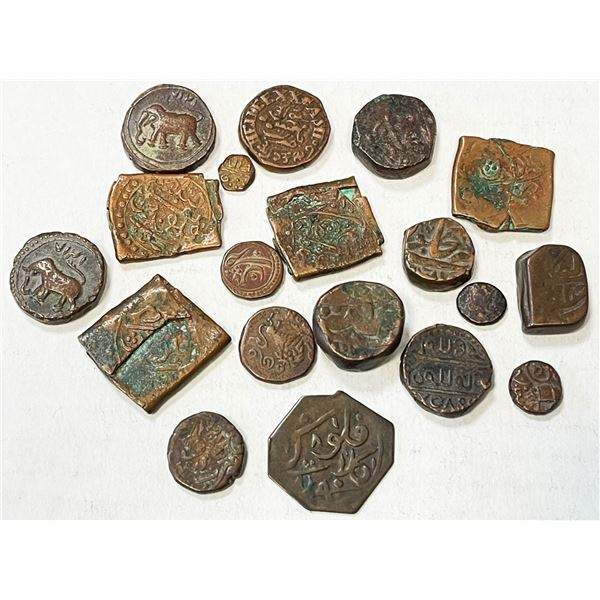 INDIA: LOT of 19 copper coins