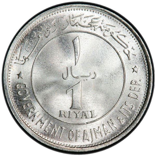 AJMAN: Rashid Bin Hamad al-Naimi, 1928-1981, AR riyal, 1969/AH1389. PCGS MS68