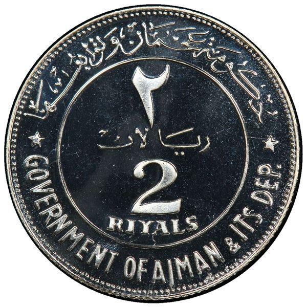 AJMAN: Rashid Bin Hamad al-Naimi, 1928-1981, AR 2 riyals, 1969/AH1389. PCGS PF69