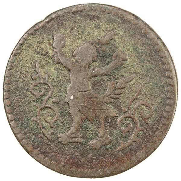 CAMBODIA: Norodom I, 1860-1904, AE 6 fuang (5.16g), ND (1885). F-VF