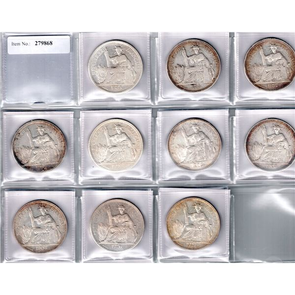 FRENCH INDOCHINA: LOT of 10 silver piastres
