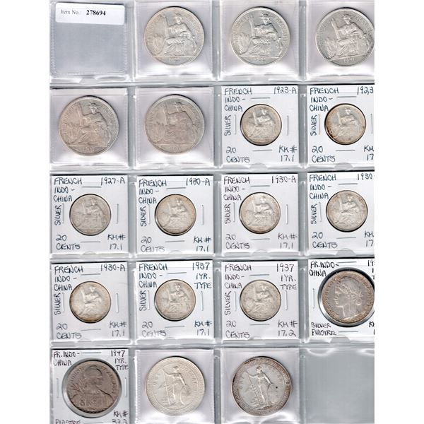 FRENCH INDOCHINA: LOT of 18 silver coins