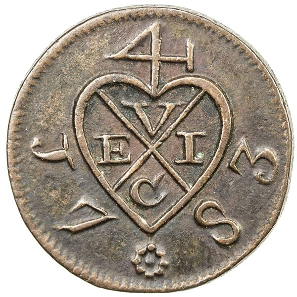 SUMATRA: British United East India Company, AE 2 kepings, 1783/AH1197. EF