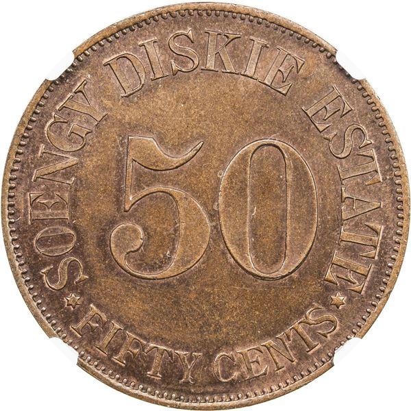 SUMATRA: Soengy Diskie, AE 50 cents token, ND(ca. 1890-1915). NGC PF64
