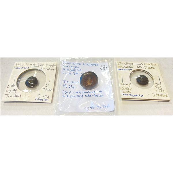 """SUMATRA: LOT of 3 conical tin ingots (""""piloncitos"""")"""