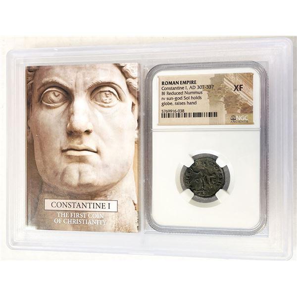 ROMAN EMPIRE: Constantine I, 307-337 AD, AE reduced nummus. NGC EF