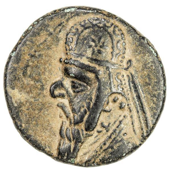 PARTHIAN KINGDOM: Mithradates II, c. 123-88 BC, AE dichalkous (2.70g), Ekbatana. VF-EF
