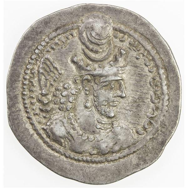 SASANIAN KINGDOM: Varhran V, 420-438, AR drachm (4.11g), BBA (the Court mint). VF-EF