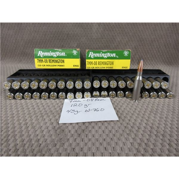 7MM-08 2 Boxes of 20 Rounds - Reloads sold as componets